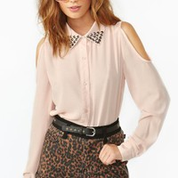 Studded Cutout Blouse