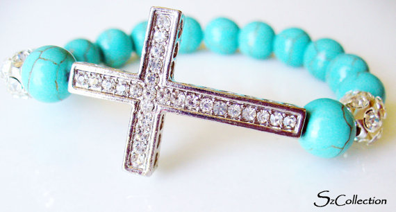 FREE SHIPPING Sideway Cross Silver Crystal Bracelet,Handmade Jewelry