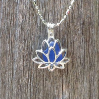 Deep Blue Sea Glass Lotus Locket Necklace by WaveofLife