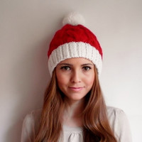 Red and White Christmas Beanie , Christmas Hat , Christmas Beanie , PomPom Women Beanie , Women Hat