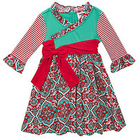 Rare Editions 2T-6X Mixed-Media Faux-Wrap-Front Dress - Red/White