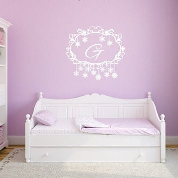 Swirly Frozen Snowflakes Frame Monogram Nursery Girls Room Vinyl Wall Decal 22481