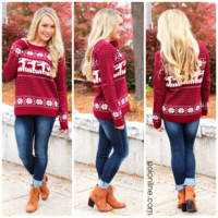 Kaitlyn's Cozy Sweater - Burgundy - BURGUNDY / LARGE