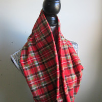 Red, Green & Gold Plaid Holiday Party Infinity Scarf