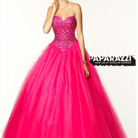 Sweetheart Beaded Tulle Ball Gown Paparazzi Prom Dress By Mori Lee 97042