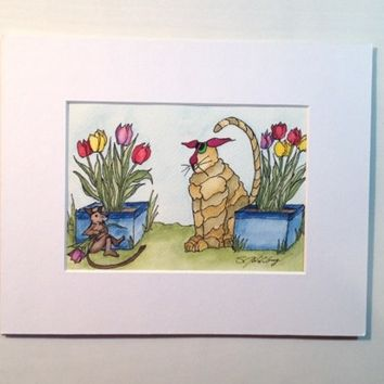Painting of Cat, Tulips and Very Relaxed Mouse, Cat Tails #11