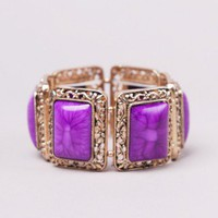Square Stone Stretch Bracelet in Plum