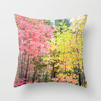 Watercolor Fall Throw Pillow by Lisa Argyropoulos