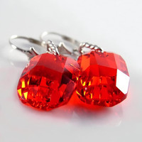 Red Earrings Sterling Silver Red Swarovski Crystal Earrings Siam Red Crystal Earrings Blood Cherry Hot Ruby Red