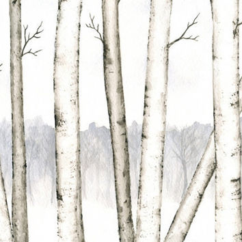 "Winter Landscape Painting, Original Birch Trees Watercolor, Winter Trees Art, Winter Birch Forest, Snow, Black and White Watercolor 8"" X 10"""