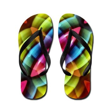 Multicolored Abstract Pattern Print Flip Flops