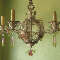 Chandelier,  Woodland Grass and Dragonflies, One of a Kind