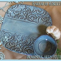 Hand-Built Square Stoneware Plate - Dragonfly Blue - Vine & Leaf design