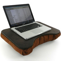 Medium Brown Faux Leather Portable Lap Desk