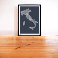 Italy Type Map in Sheer Slate decorative screen by boldandnoble