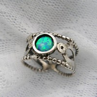 Sterling silver & Opals spiral design ring (sr-9916)