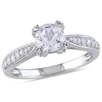 6.0mm Lab-Created White Sapphire and 1/5 CT. T.W. Diamond Promise Ring in Sterling Silver