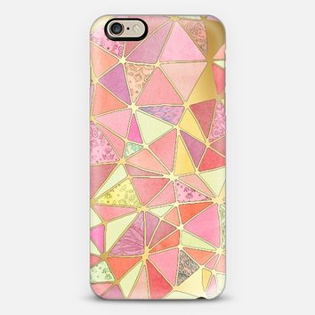 Soft Pink, Peach & Gold Hand drawn Geometric Patchwork Pattern iPhone 6 case by Micklyn Le Feuvre | Casetify