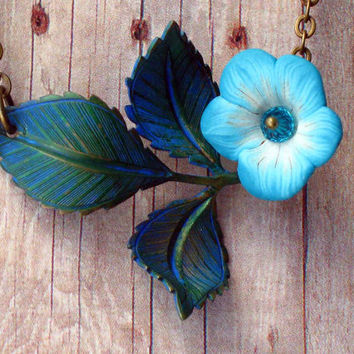 Bellflower Necklace Teal Blue Spring Flower and Leaves