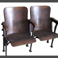 Columbia Univ. curved wooden auditorium seats - Antique furniture - Furniture