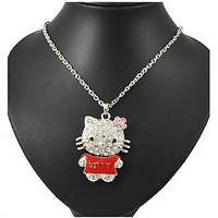[$23.65 ] Necklace, Alloy Pendant, with Rhinestone and Iron Chain, Kitty, Silver Color Chain - Dressilyme.com