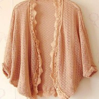 Women Autumn New Style Lace Wraps Bat-wing Sleeve Pink Knitting Cardigan One Size@II0167p $9.81 only in eFexcity.com.
