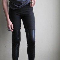 Minimalist grunge leggings - metallic black faux thigh highs made with shining spandex - large
