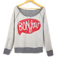 BONjour - Hand STENCILED Raglan Scoop Neck Inside Out French Terry Womens Sweatshirt in Grey and Red - XS S M L XL