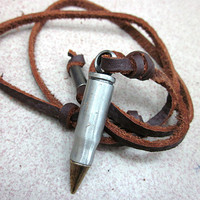 soft leather necklace,metal bullet pendant men leather long necklace, women leather necklace   XL121