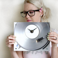 College Dorm Clock : Retro Silver Record Player Wall Clock