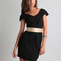 Satin Band Wrap Black Chanice Dress