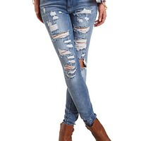 Medium Wash Destroyed Skinny Jeans - Med Destroy Denim