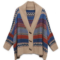 Wood-Button Printed Oversized Sweater$39.00