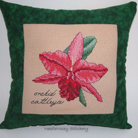 Christmas Cross Stitch Pillow, Green Pillow, Orchid