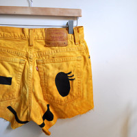 SALE yellow winky face cutoffs