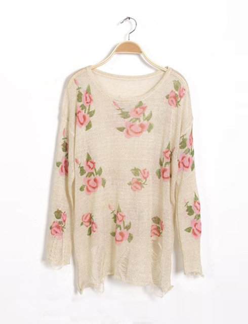Apricot  Rose Flowers Print Ripped Distressed Long Sleeve Jumper$39.00