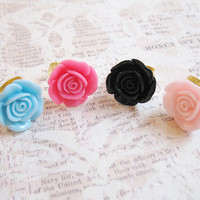 Adjustable Ring - Mint Blue, Pink, Black Rose - Flower Ring - Floral Rose Ring - Kawaii Hime Gyaru -  Gold, Silver Band - Cosplay - One Size