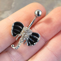 Crystal Elephant Belly Button Jewelry Ring