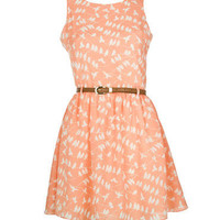 Peach Belted Bird Print Summer Dress - Clothing - desireclothing.co.uk