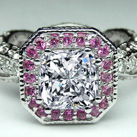 Engagement Ring - Radiant Diamond Vintage Pave engagement ring Pink halo in 14K White Gold - EST2