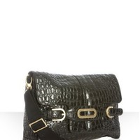 Jimmy Choo black croc-embossed leather 'Tess' crossbody at Bluefly