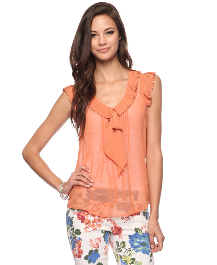 Pleated Ruffle Tank