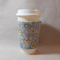 Lovely Tan and Aqua Floral Slide on Coffee Cozy