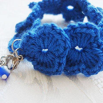 Handmade Blue Bracelet With Evil Eye - Crocheted Bracelet - Under 15