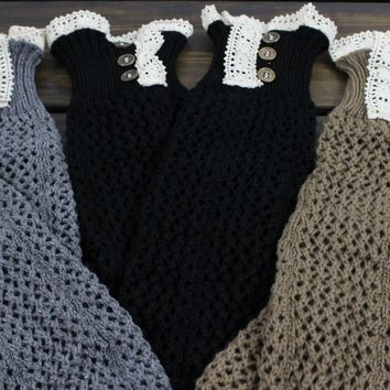 Gift SET: Lace Legwarmers Knitted Boot Socks Leg Warmers Knee High Leg Warmers Lace Boot Cuffs Knit Boot Toppers for Women and Girls