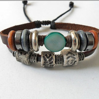 Jewelry bangle leather bracelet men bracelet women bracelet made of leather woods ceramic metal bracelet cuff  SH-1224