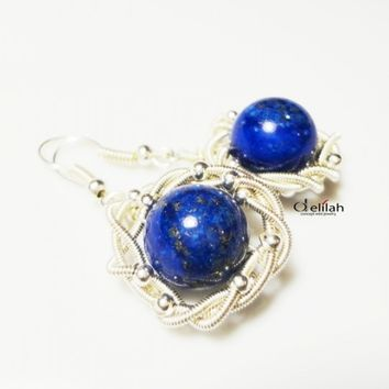 Wrapped Lapis Earrings, Wire Wrapped Earrings, Stone Setting, Lapis Earrings, Elegant Earrings