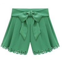 Women Summer Euro Style Ice Cream Casual Blends Butterfly Green Short Pants M/L@II0156gr $14.59 only in eFexcity.com.