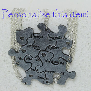 Friendship Set of 5 Best Friend Pendants Linking Jewelry Silver painted leather Personalized