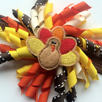 Thanksgiving Turkey Hair Bow - Thanksgiving Day Headband for Toddler - Fall Korker Bow Headband - Girls Brown Headband - Baby Girl Headband